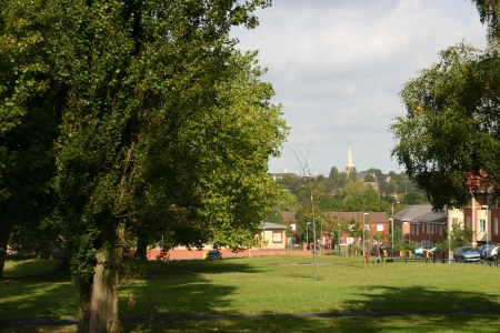 Viewed the other way with  St Micheals Church Handsworth in the distance and the  New houses in Lodge Road Both photos were taken in 2005