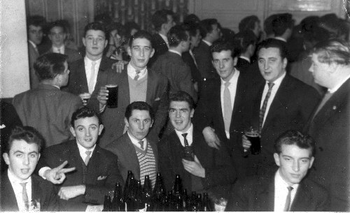 My mates at the Vittoria Resturaunt Fredrick Street hockley taken about 1962-63 Bottom left to right seated John Underhill-John Rose-Dave Garrigan-Tony Crook-myself Frank Thornhill. Back row left to right facing away Derek Dyson-Ray Howell-Dave Harriss the three remaining on the left unknown maybe someone will be able to put a name to them Regards Frank Thornhill 10/09/06 E-mail  thornhilltool@btinternet.com