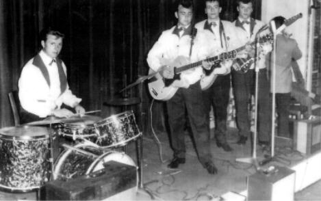 "The ""TEENSCENES"" playing at the Vittoria Restraurant 1960s. Left to Right John Turton (drums) Brian Webb, Trevor Greaves and Gary Mellor."