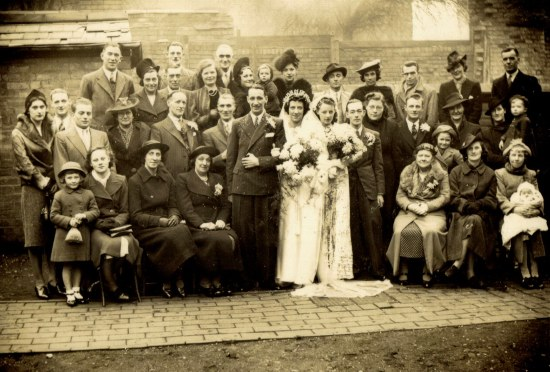 Marriage of Grace Williams (21 Benson Rd.) and Albert Brown ( Hockley )  at Nineveh Wesleyan and Methodist Church, Benson Rd. c.1939. Derek Weston  derekjohnweston@hotmail.co.uk