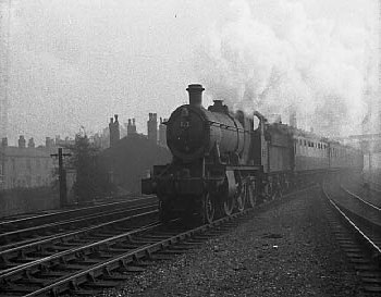 "Ex GWR 2-6-0 No 7321 on a passenger at Soho and Winson Green in 1957                                            Photo Copyright ""D K.JONES collection"" with thanks.. http://www.cresselleyphotos.co.uk"