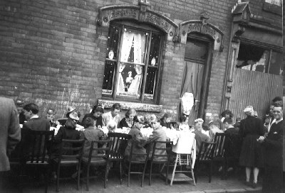 *1953 CORONATION street party Foundry Road. Sheila's other photographs see Foundry Road School and Wellington Street.