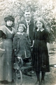 Frank and his family in about 1910. My mother is the younger child on the picture - the older girl is in fact a cousin.