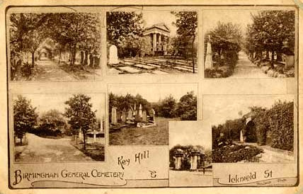 Postcard of Key Hill Cemetery   thanks to Mac Joseph