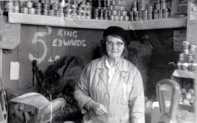 Violet Wakeling in the shop at 185 Spring Hill   (More family photos on the College Street page)