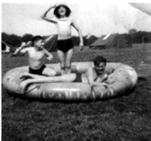 Another Boys Brigade camp  Location ???                 Year Approx 1954/55? Boy with bucket on head Brian Selvey,  Lying on Dinghy Clive Roach,    puncher Frank Beckstein Regards Clive Roach cr021g8930@blueyonder.co.uk