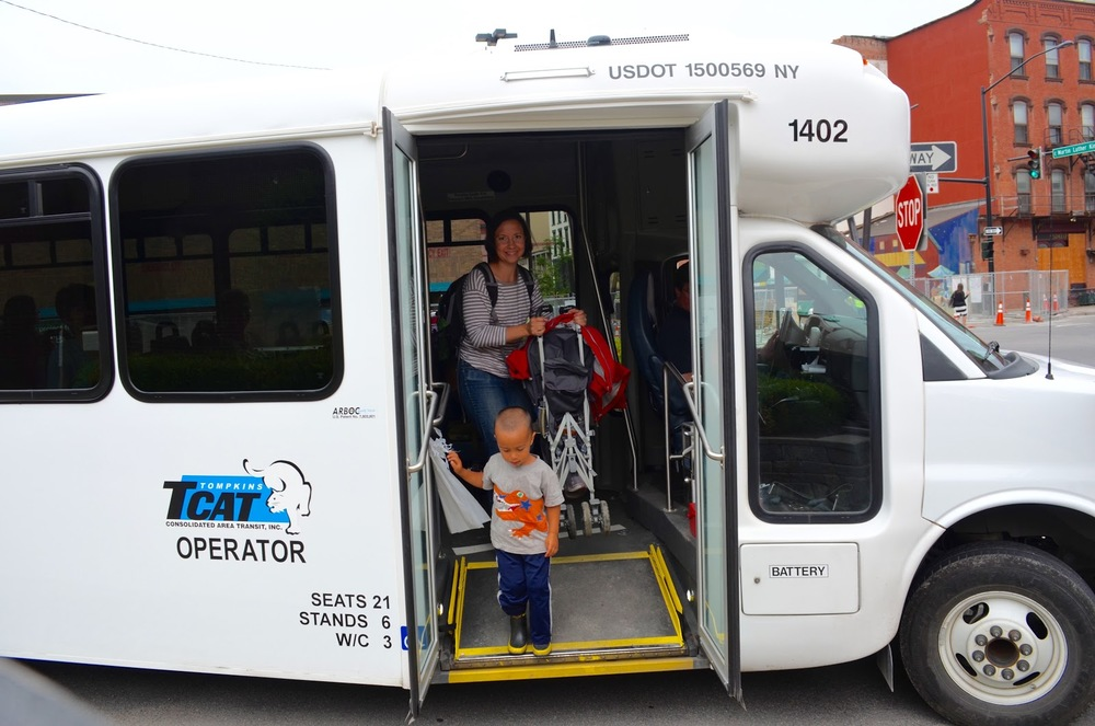 """TCAT and other people are just really, really helpful…the other people on the bus are always trying to help me juggle strollers."" Photo: Sarah Paez"