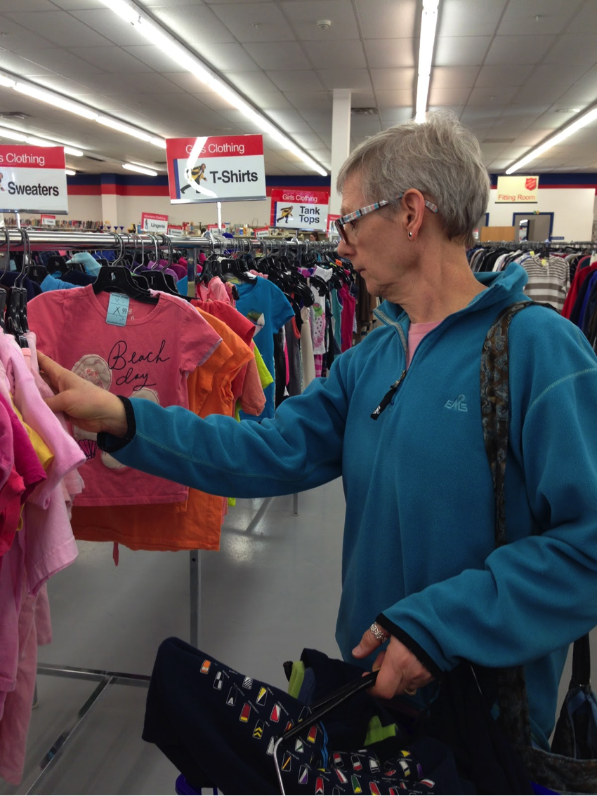 Barb browses the selection of clothes at Ithaca Salvation Army. Picture by Kelly To.