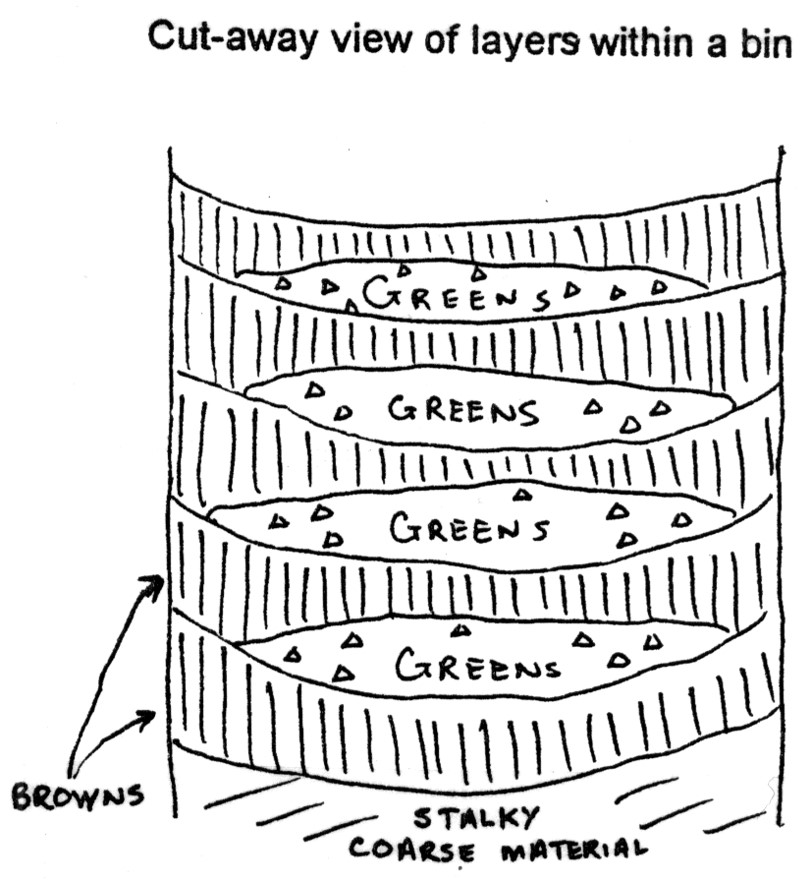What your bin should look like when lasagna layering. Image courtesy of the Compost Education Program at CCETC.