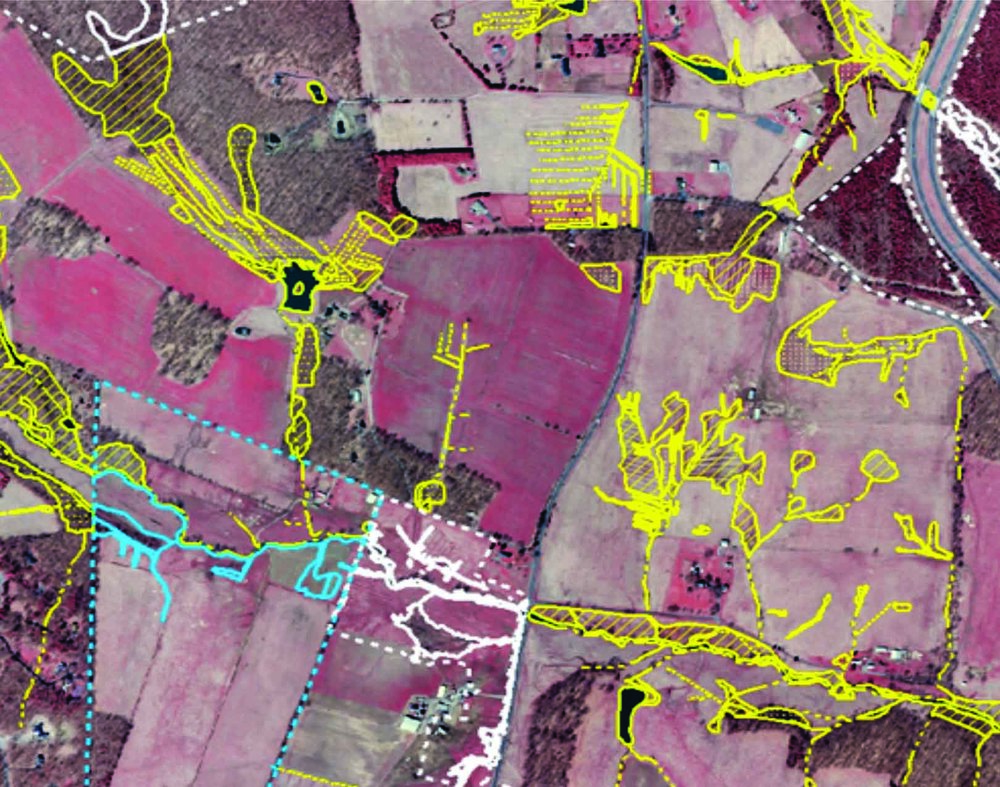 Color infrared imagery with surveyed and photo-interpreted wetlands