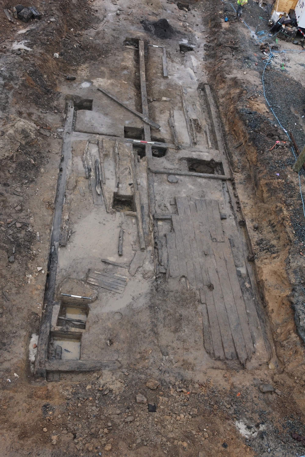 Aerial view of the remnants of the Carlyle warehouse, Alexandria's first public warehouse constructed around 1755.