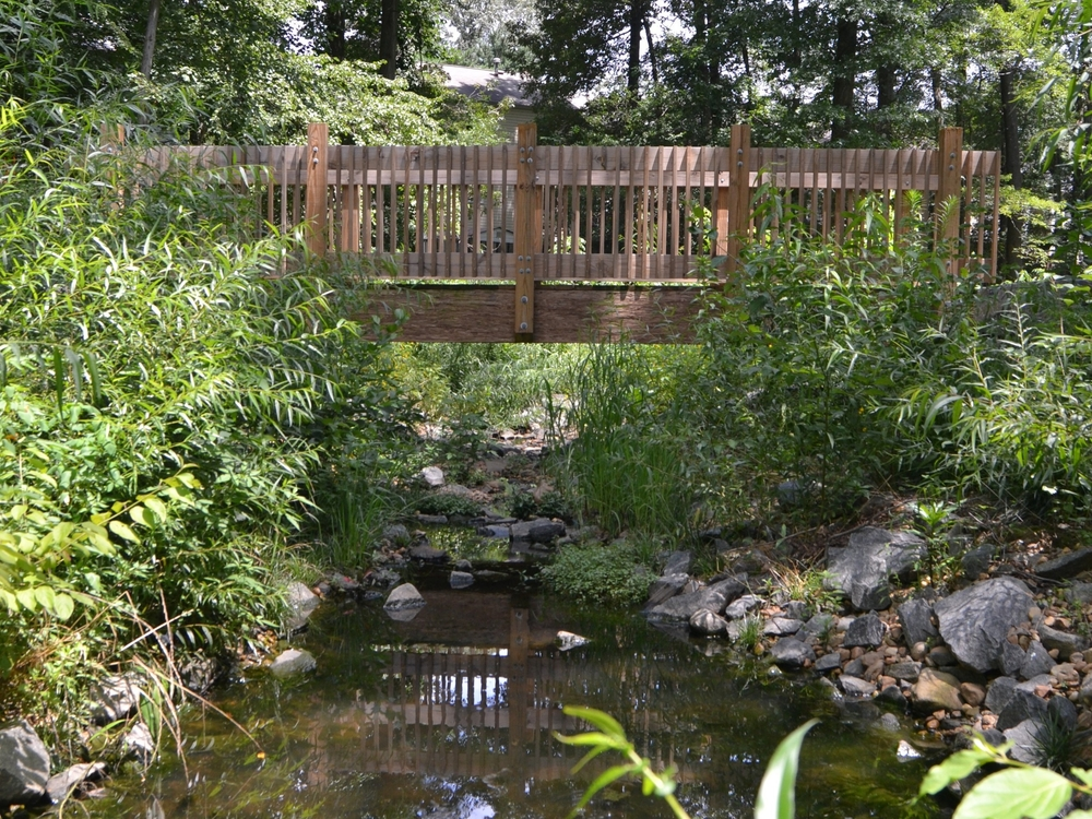 After: WSSI used cross vanes, step pools, and reinforced bed material to restore the stream. The restored channel - shown one year after construction - offers the community a park-like amenity while protecting existing infrastructure and reducing maintenance expenditures for tree care. This new bridge improves access to the area and encourages use of the existing walking trail.