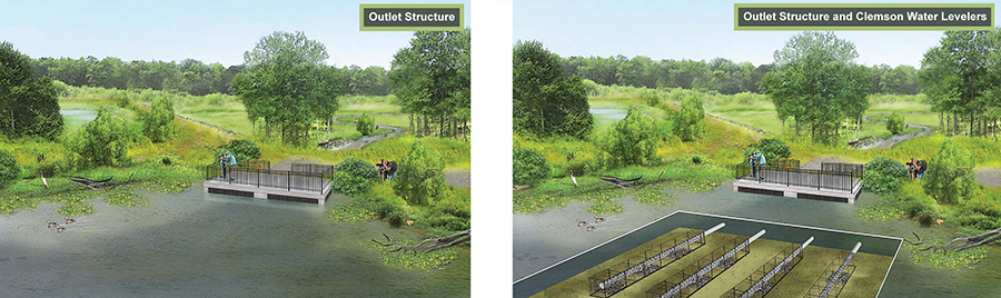 Huntley Meadows – Wetland restoration rendering used in public engagement process to illustrate a design component.
