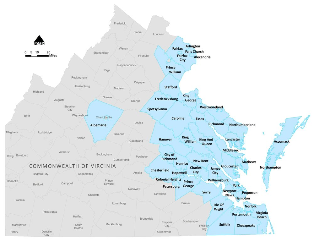 Local governments with Chesapeake Bay Preservation Act ordinances
