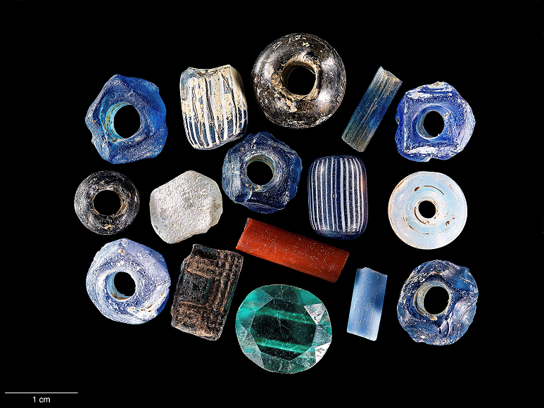 WSSI archeologists found these small beads at the Lyndham Hill site in Fairfax County, Virginia.