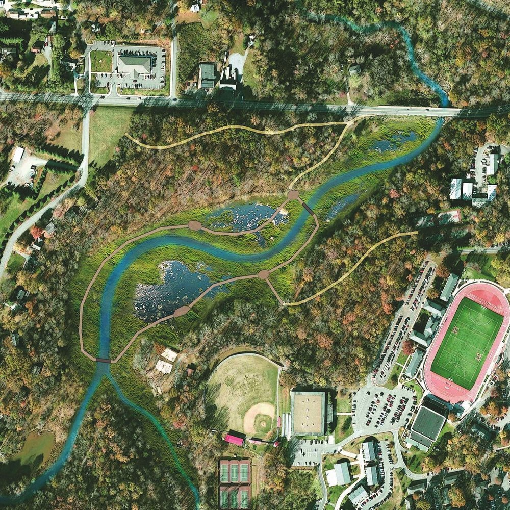 College Lake – Concept graphic of College Lake (Lynchburg, VA) as a restored stream and wetland system.