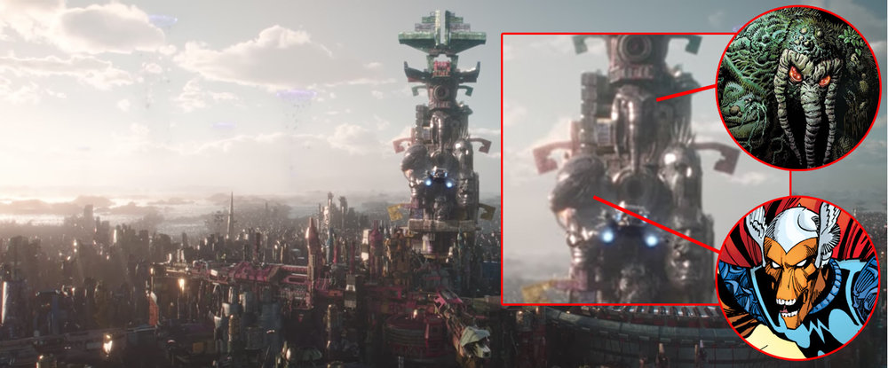As discussed in the episode. A tower near the gladiatorial ring appears to bear the likenesses of Man-Thing (top), Beta Ray Bill (upper left).