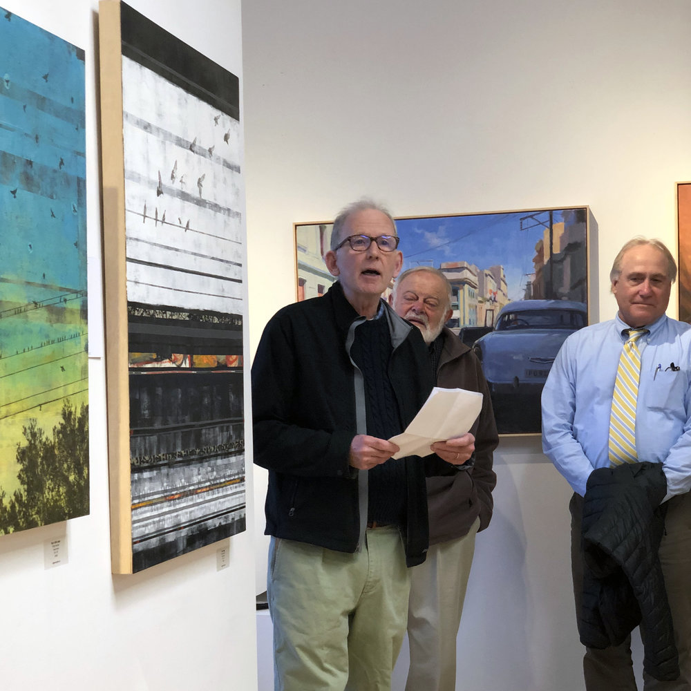 Ray Hudson reads  View from a Bus , a poem about moving on, inspired by my painting  Soft Landing  (on the wall beside him).  .