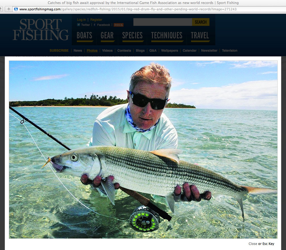 Jan Forszpaniak with his world record bonefish caught on his 3-TAND T-100, featured on Sport Fishing Magazine website.