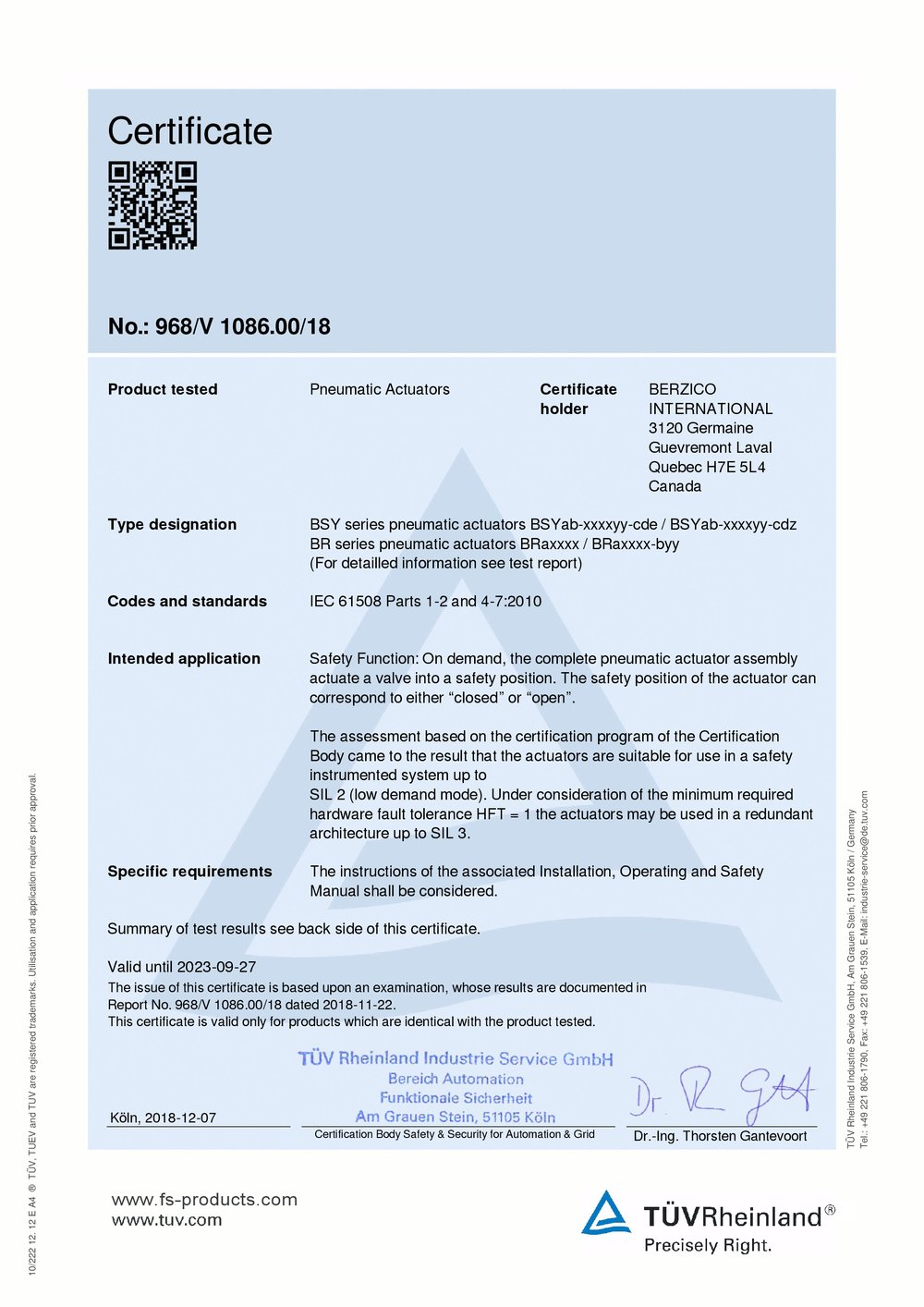 Sil Certificate Berzico Model Br Bsy Berzico