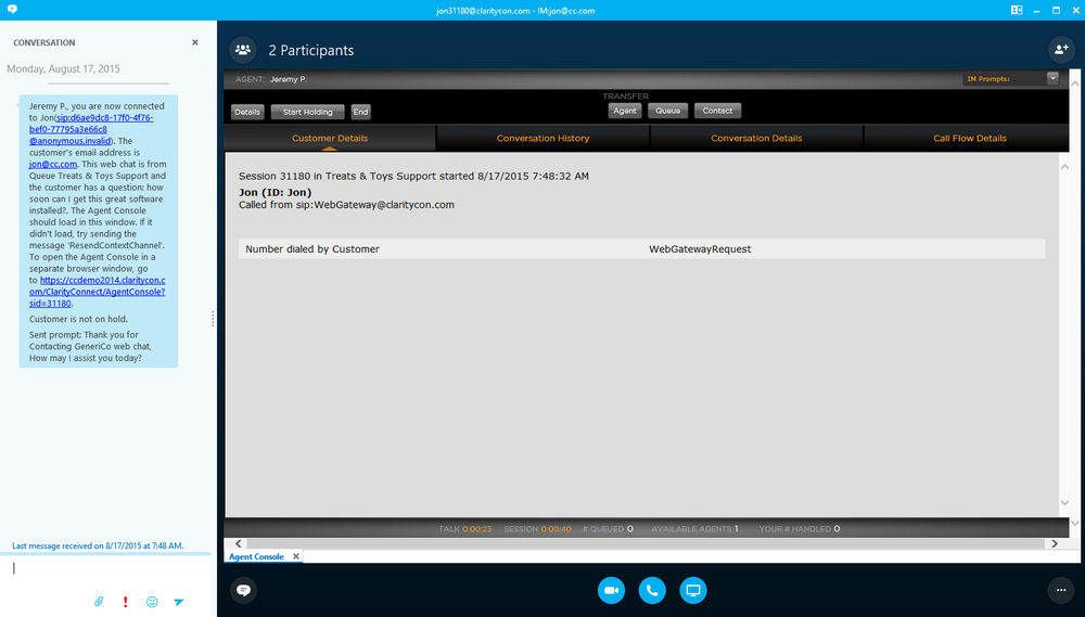 Skype4Business Agent Console