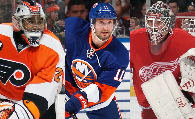 Left to Right:  Ray Emery, Lubomir Visnovsky and Jonas Gustavsson are all on PTO contracts heading into training camp.