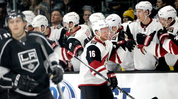 Max Domi celebrates a goal against the Kings on Oct. 9th.