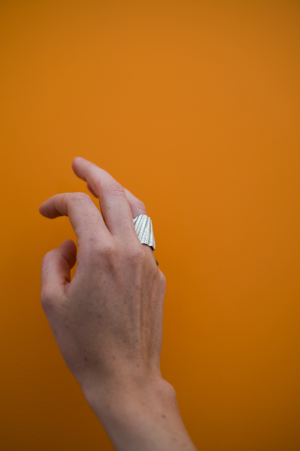 Our Shell Fragment Ring against the orange interiors