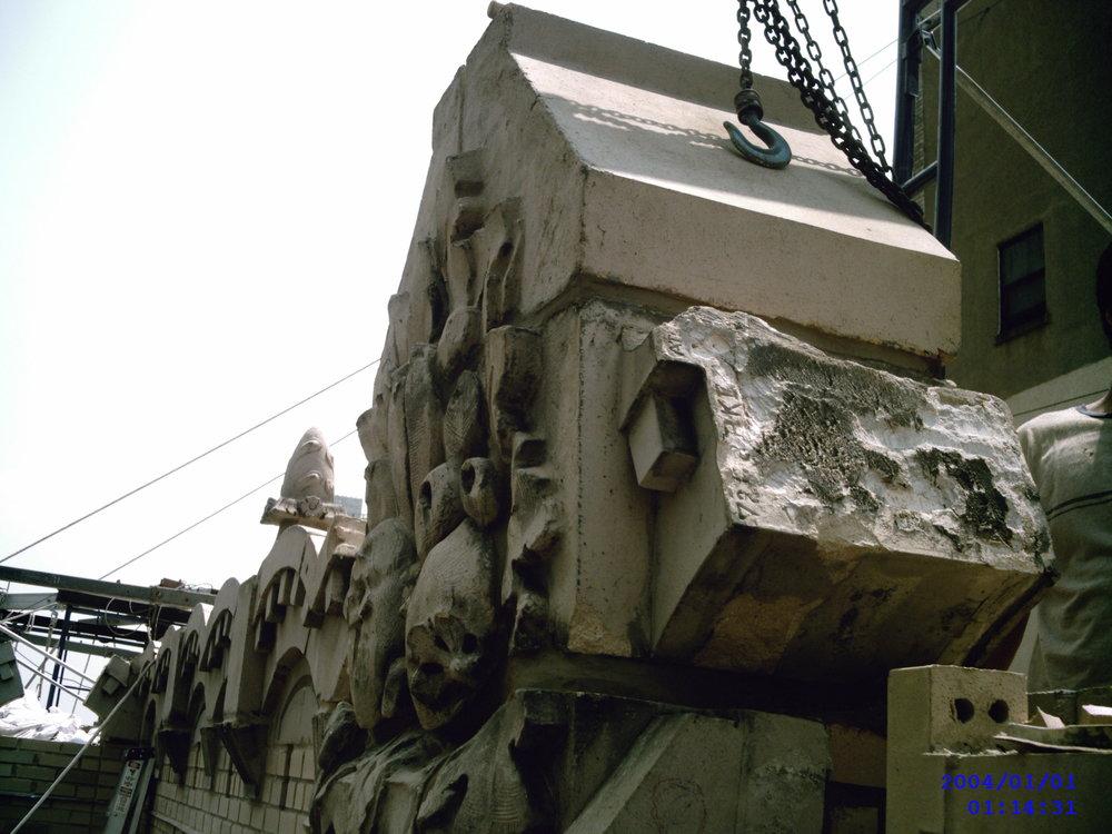 Remove waterproof & reinstall decorative parapet stone
