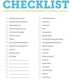 Wedding Day Bridal Checklist