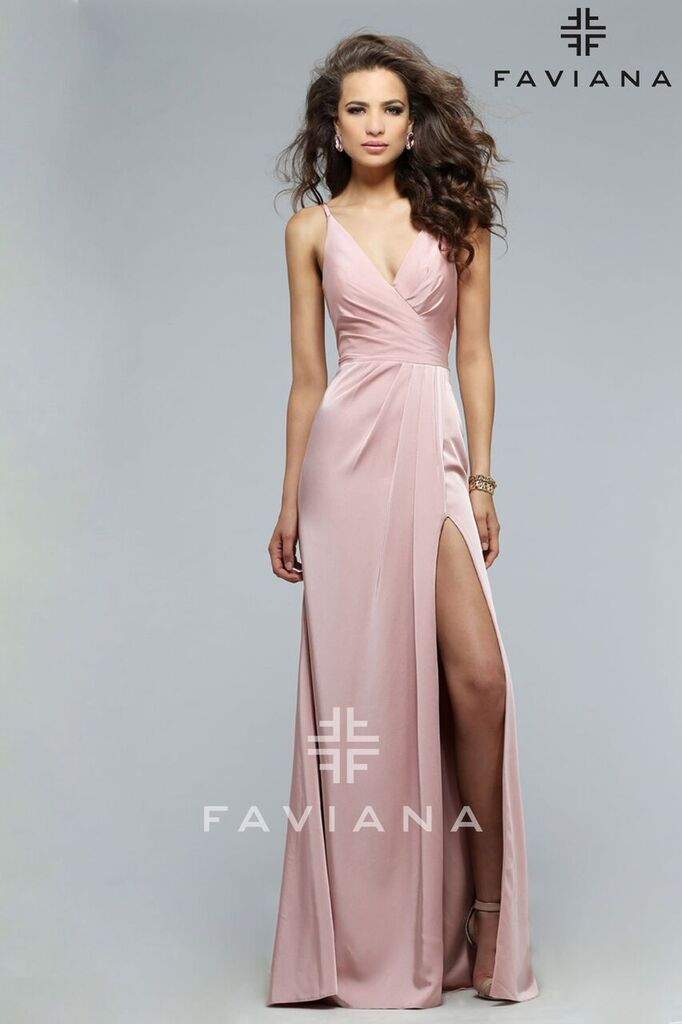 Faille Satin V-Neck Prom Dress Faviana 7755
