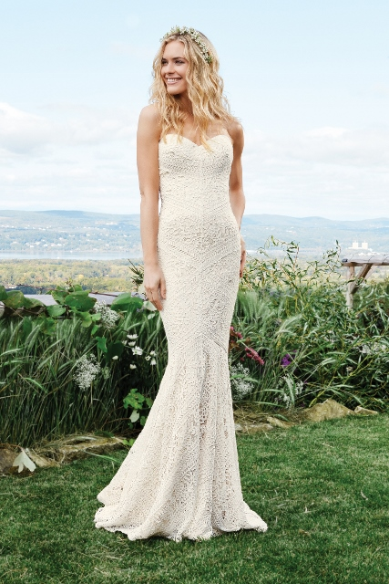 Lillian West Sweetheart mermaid lace chapel train wedding dress