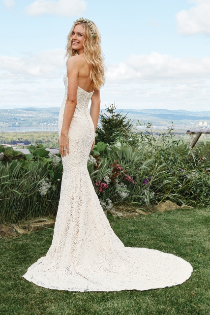 Lillian West lace sheath bridal gown