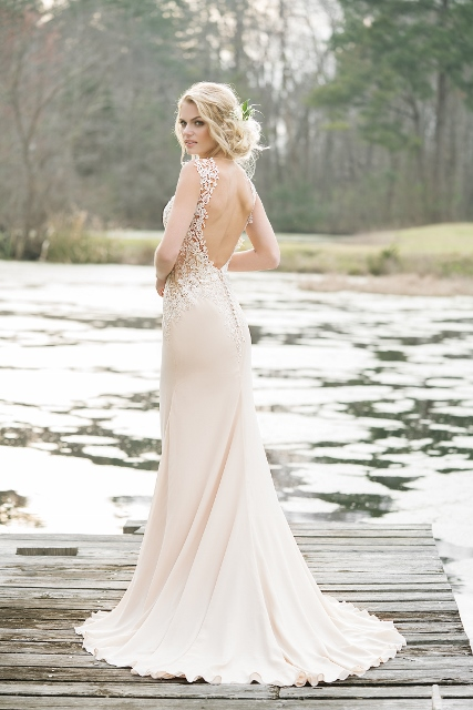 Sexy chiffon low back Lillian West wedding dress