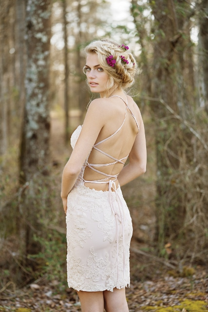 Short lace crisscross Lillian West bridal gown