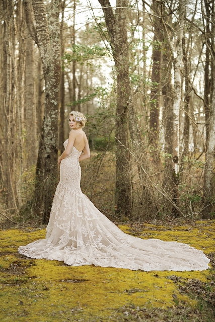 Fit and flare Lillian West wedding dress
