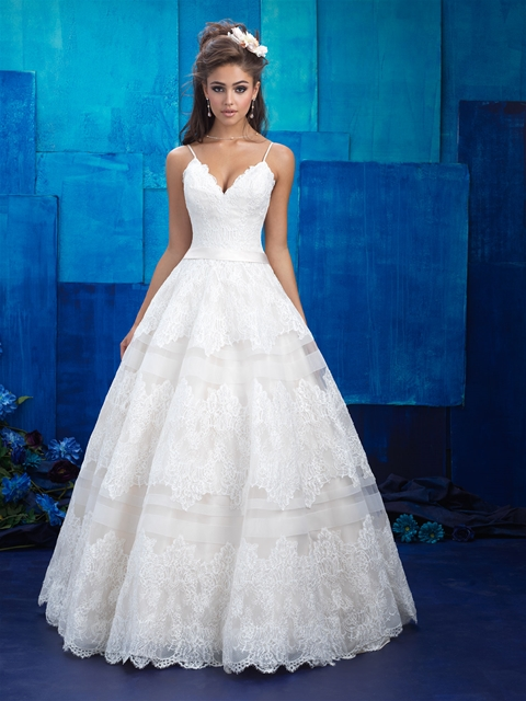 Tiered effect skirt lace ballgown