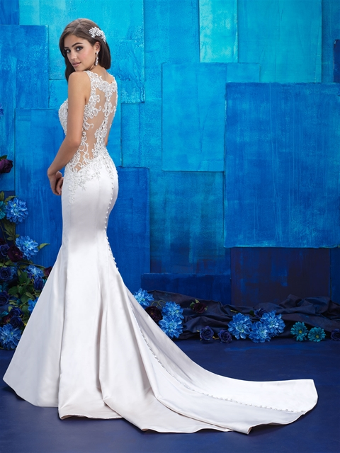 Sexy fitted sheer back bridal gown