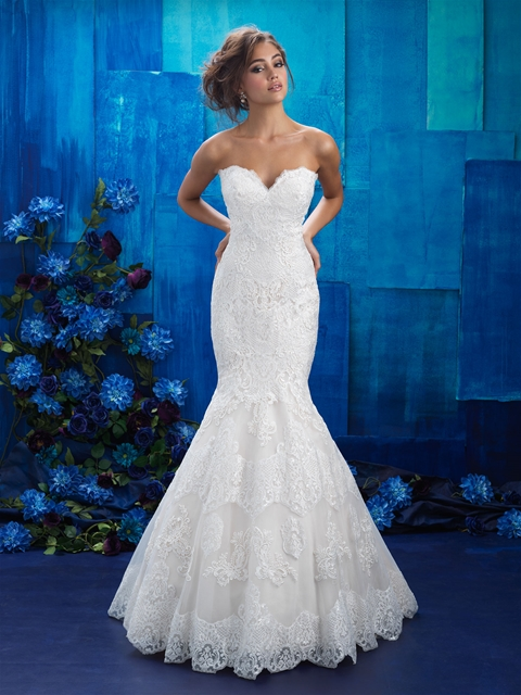 Stapless Sweetheart lace mermaid bridal gown