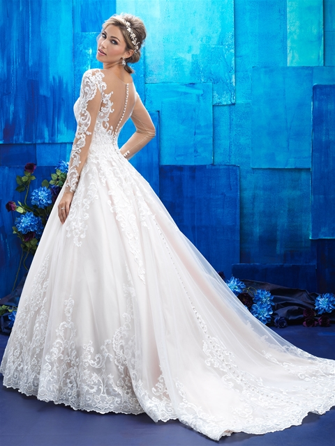 Long sleeves bridal gown with illusion back