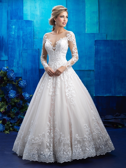 Regal elegant lace bridal gown