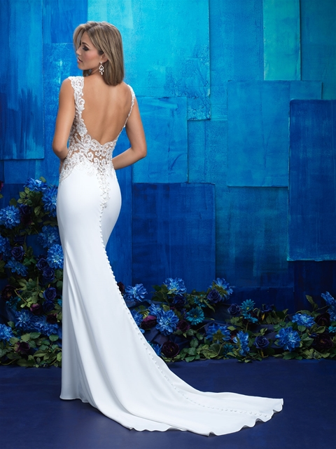 Sexy low back crepe wedding dress