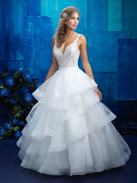 Ruffles skirt with beaded bodice wedding dress