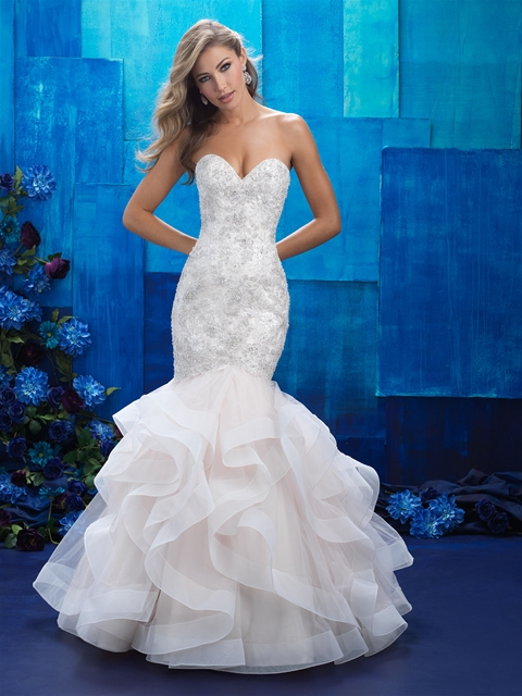 Ruffles strapless mermaid wedding dress