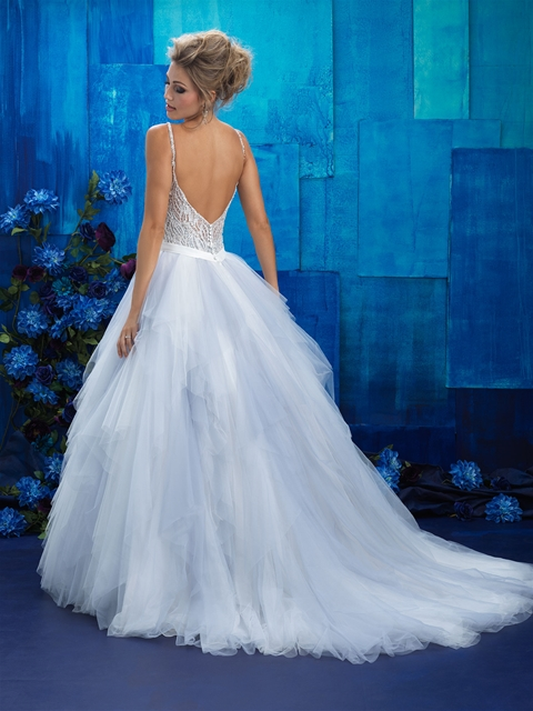 Beaded bodice tulle wedding dress