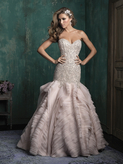 Beaded bodice couture bridal gown with organza ruffles