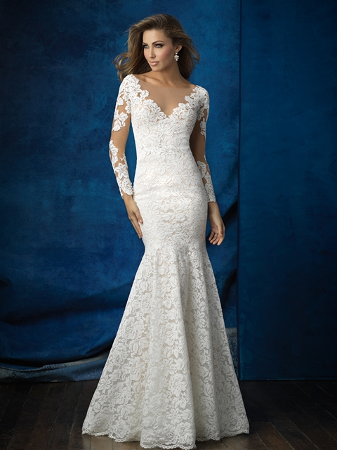 Long sleeves with open back illusion fit and flare bridal gown