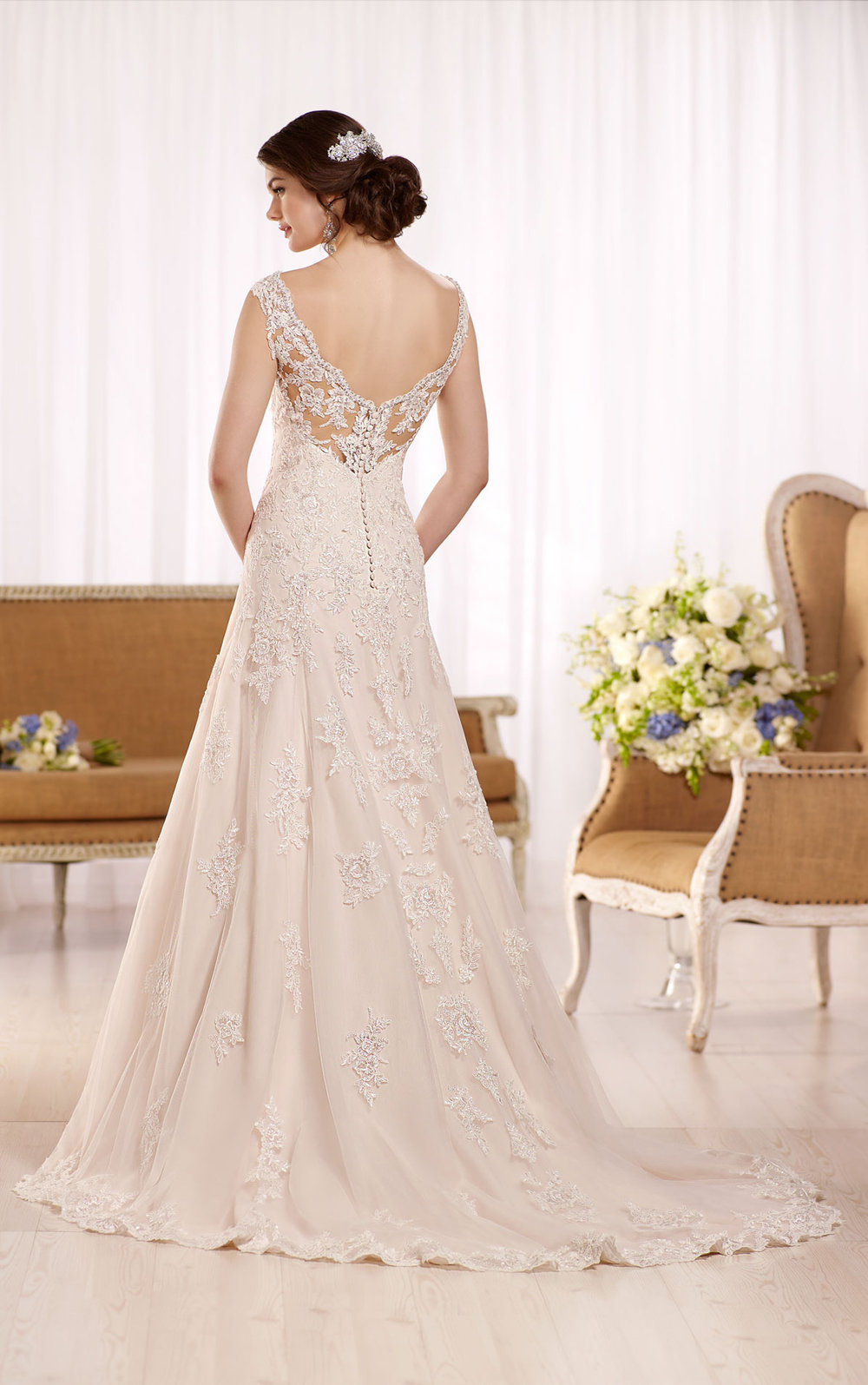 A line wedding dress with embellished sweet heart neckline
