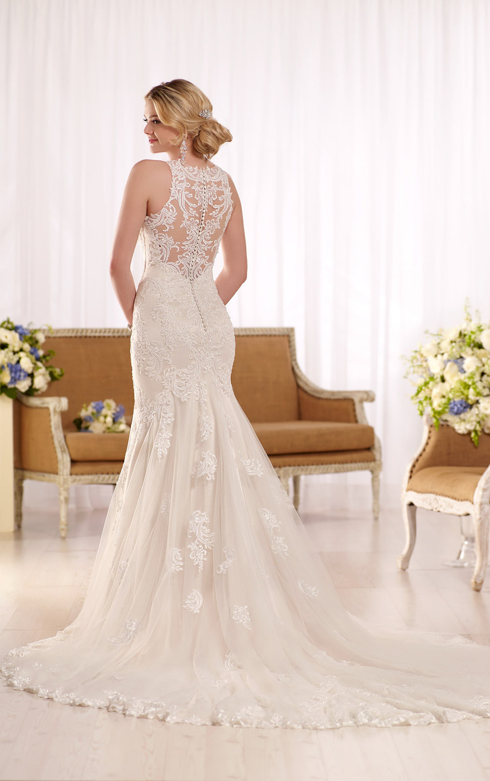 Halter neckline and illusion lace back wedding dress