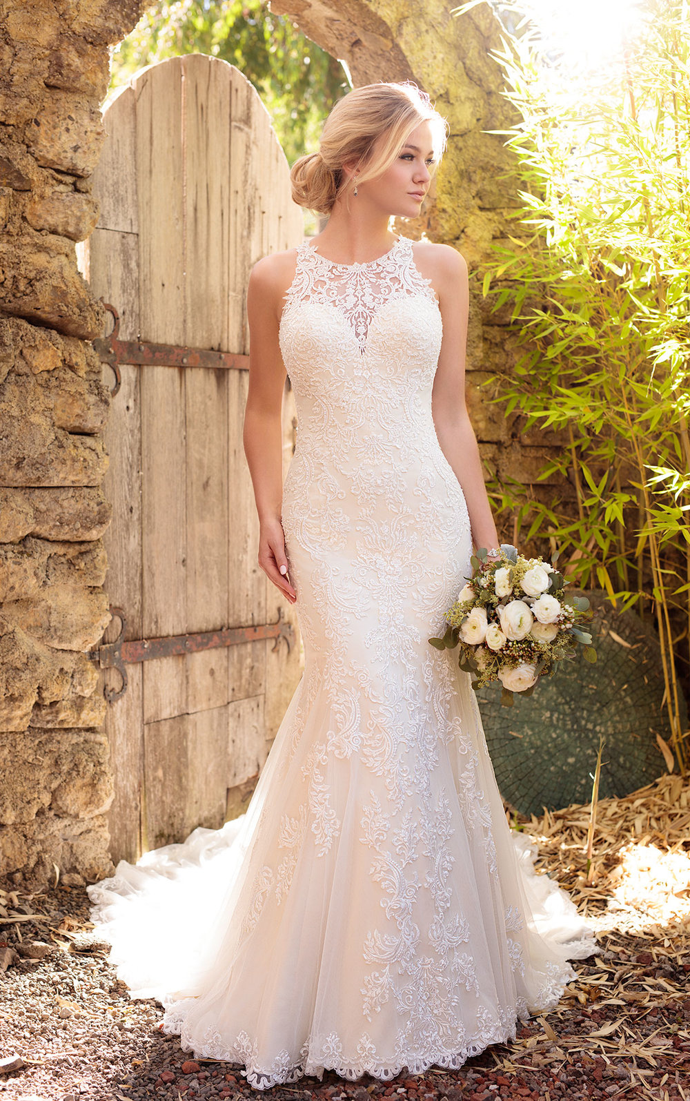 Essense of Australia Halter neckline wedding gown